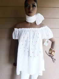 Devita Designs Devita Designs Handmade White Eyelet Off The Shoulder Organic Cotton Tunic Top