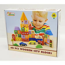first learning 40pc wooden city blocks toyworld