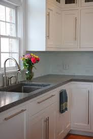 Concrete Counters White Shaker Cabinets Stainless Hardware Sink
