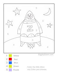 Small Picture Printable Color by Number Rocket Ship Worksheets Math and