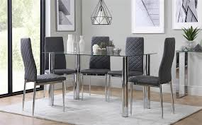 gallery lunar chrome and gl dining table with 4 renzo grey chairs