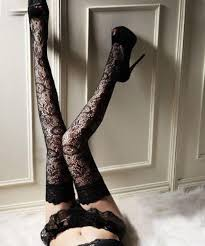 Beileisi Lace Top Stay Up Thigh High Stockings Black