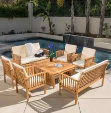 Contemporary Wood Patio Furniture With Cushions Piece Acacia Outdoor Sofa Table Set Garden Intended Design Inspiration