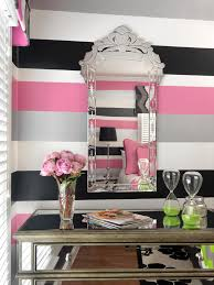 Pink And Black Girls Bedroom Wide Wall Stripes In Black White Gray And Pink Turn A Teen