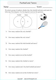 Analyze Venn Diagrams Printable Grade 6 Math Worksheet