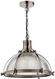 industrial style pendant lighting. Dar Debut Copper Industrial Style Ribbed Glass Pendant Light Lighting