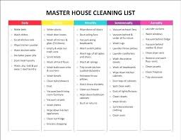 Weekly Chores List Template House Cleaning Chart Template