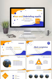 Blue And Orange Powerpoint Template Orange And Blue Two Color Simple Business Debriefing Report