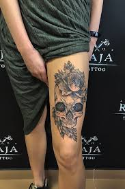 Tattoo Uploaded By Raja Tattoo Skull Tattoo Woth Flowers On Women