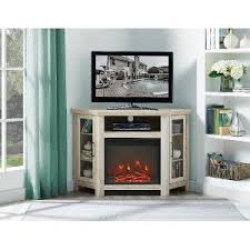 corner tv stand with fireplace. 48 inch white oak corner tv stand with fireplace tv