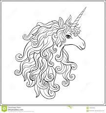 Unicorn Pagina Di Coloritura Del Disegno Di Profilo Libro Da