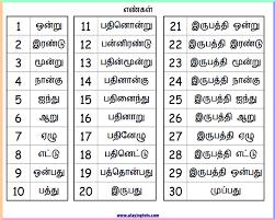 Tamil Number Words Chart 1 30 Keywords Free Printable