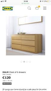 ikea malm chest of drawers glass top in oak veneer colour