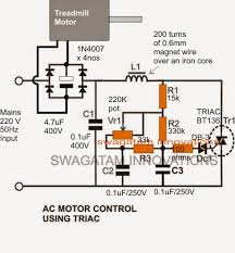 treadmill motor speed controller circuit electronic circuit projects shown below is a modified dimmer switch circuit design which can be effectively used for regulating a 180 v treadmill motor from zero to max