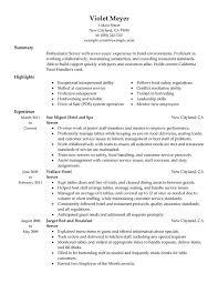 server resume sample example hospitality resume