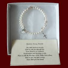 to enlarge picture ivory swarovski crystal pearl wrap rosary bracelet with optional irish