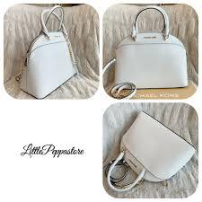 michael kors emmy large saffiano leather dome satchel handbag optic white