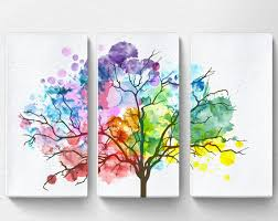on large canvas wall art trees with rainbow watercolor tree canvas tree canvas art nature canvas
