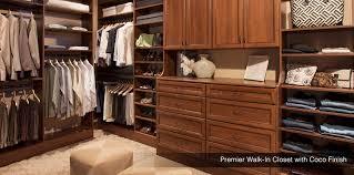 premier walk in closet with coco finish