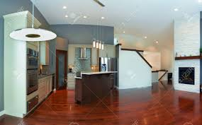 New House Kitchen Designs Interior Design Of Modern Kitchen In A New House Stock Photo