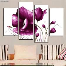 plum wall decor 4 set canvas wall art picture combined flower paintings plum purple modern abstract plum wall