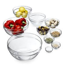 luminarc stackable assorted clear glass bowls set of 10