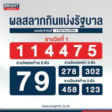 ตรวจหวย 1 กันยายน 2564 ผลสลากกินแบ่งรัฐบาล รางวัลที่ 1 คือ 114475