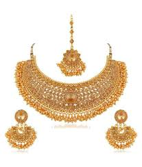 apara bridal pearl lct stones gold necklace artificial antique jewellery set for women