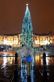 Crowds braved the threatening rain to watch the lighting of the Trafalgar  Square Christmas Tree in
