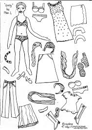 Paper Doll Colouring Sheets Pages Fur Trimmed Fantasy Gown And An