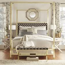... home decor Large-size Inspire Q Solivita King Sized Canopy Gold Metal  Poster Bed Tufted ...