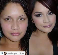 padour user meliangel11710 posted this transformation of herself with and without makeup she looks beautiful in both pictures