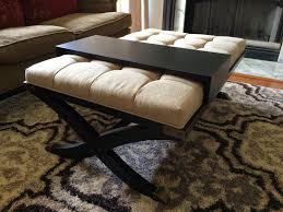 black tufted ottoman coffee table