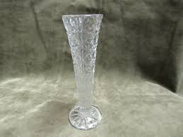 details about vintage 1930 s pressed glass bud vase on and cane pattern in clear color