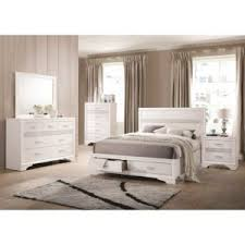 4 PIECE QUEEN STORAGE BEDROOM SET WHITE WITH JEWELS