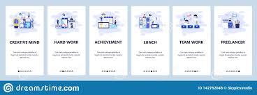 Office Banner Template Mobile App Onboarding Screens Business Management Teamwork
