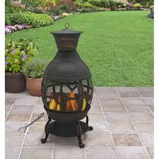 better homes and gardens cast iron chiminea antique bronze com