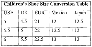 Toddler Shoe Size Conversion Chart Mexico