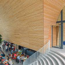 wooden cladding textured strip panel curved wooden wall