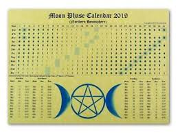 Wiccan Moon Chart Details About Moon Phase Lunar Calendar 2019 Parchment Poster Wicca Pagan Spell Astrology Bos