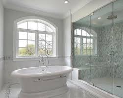 shower blue gray soho glass mosaic tiles shower