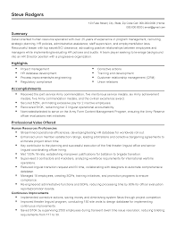 Resume Templates Human Resource Specialist