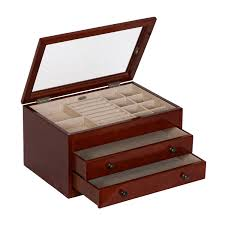 haywood glass top wooden jewelry box in walnut hover to zoom 165100839s16 1 hover to zoom