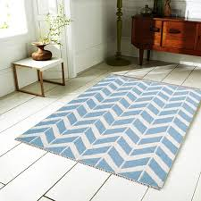 chevron rug in blue and white