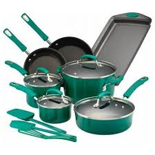 rachael ray pan set. Contemporary Ray Rachael Ray  14Piece Cookware Set Fennel Gradient Angle_Standard On Pan