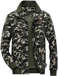 Springrain <b>Men's Casual</b> Slim Stand Collar Tooling <b>Camouflage</b> ...