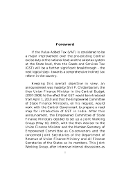 first discussion paper on goods and services tax in