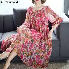 <b>Women</b> Short Sleeve Party Vestidos 2019 <b>Summer New</b> Floral Silk ...