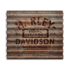 harley davidson rusted corrugated metal sign