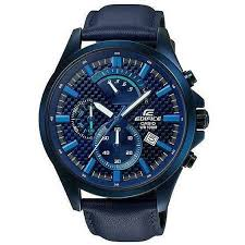casio efv 530bl 2a blue edifice men s watches genuine leather band for
